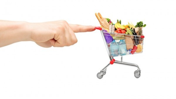 finger pushing shopping cart
